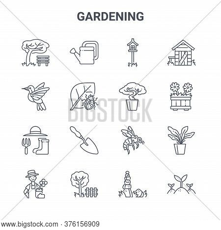 Set Of 16 Gardening Concept Vector Line Icons. 64x64 Thin Stroke Icons Such As Watering Can, Humming