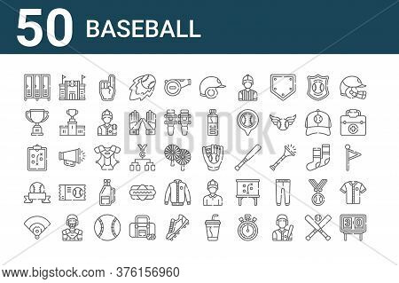 Set Of 50 Baseball Icons. Outline Thin Line Icons Such As Scoreboard, Baseball Field, Baseball, Stra
