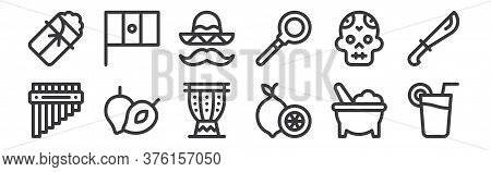 12 Set Of Linear Mexico Icons. Thin Outline Icons Such As Lime, Lime, Zapote, Skull, Mexican Hat, Me