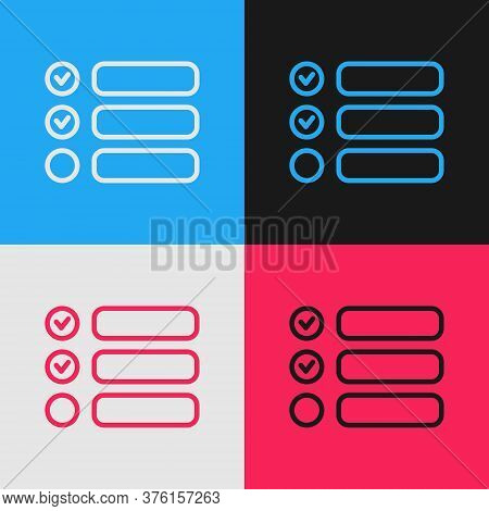 Pop Art Line Task List Icon Isolated On Color Background. Control List Symbol. Survey Poll Or Questi