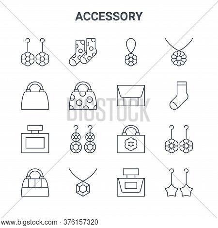 Set Of 16 Accessory Concept Vector Line Icons. 64x64 Thin Stroke Icons Such As Socks, Handbag, Footb