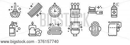 12 Set Of Linear Hygiene Routine Icons. Thin Outline Icons Such As Toilet Paper, Toilet, Candle, Tee