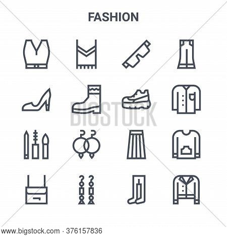 Set Of 16 Fashion Concept Vector Line Icons. 64x64 Thin Stroke Icons Such As T Shirt, High Heels, Sh