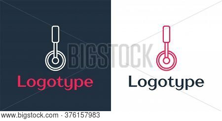 Logotype Line Pizza Knife Icon Isolated On White Background. Pizza Cutter Sign. Steel Kitchenware Eq