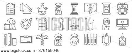 Academy Line Icons. Linear Set. Quality Vector Line Set Such As Liquid Glue, Marker, Teacher, Statio