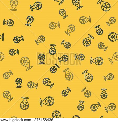 Blue Line Radioactive In Location Icon Isolated Seamless Pattern On Yellow Background. Radioactive T