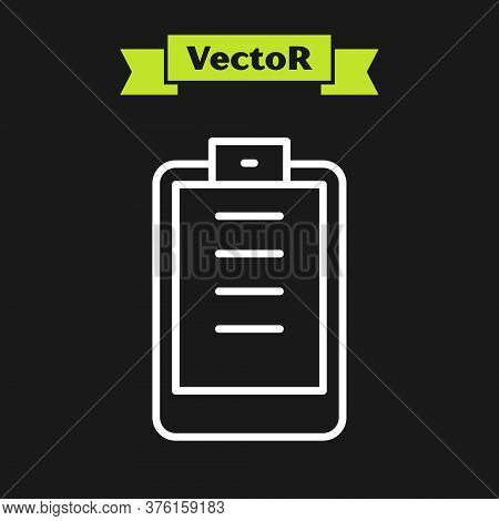 White Line Clipboard With Checklist Icon Isolated On Black Background. Control List Symbol. Survey P