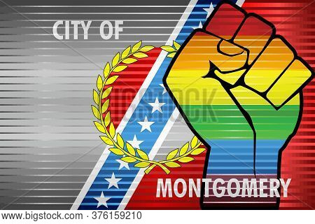 Shiny Lgbt Protest Fist On A Montgomery Flag - Illustration,  Abstract Grunge Montgomery Flag And Lg