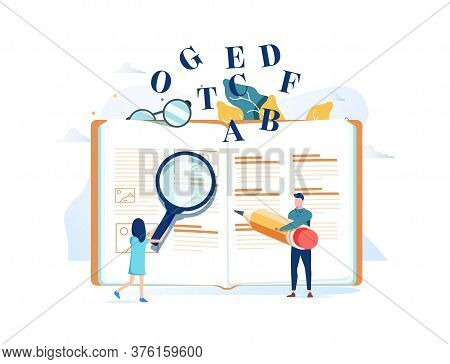 Dictionary Vector Illustration. Flat Tiny Translation Book Persons Concept. Abstract Literature Read