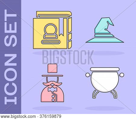 Set Witch Cauldron, Ancient Magic Book, Magician And Witch Hat Icon. Vector