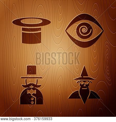 Set Wizard Warlock, Magician Hat, Magician And Hypnosis On Wooden Background. Vector