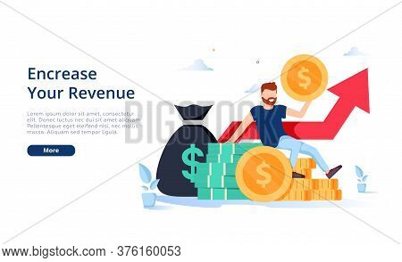 Happy Businessman Earning Money Flat Vector Illustration. Cartoon Millionaire Or Banker Holding Huge