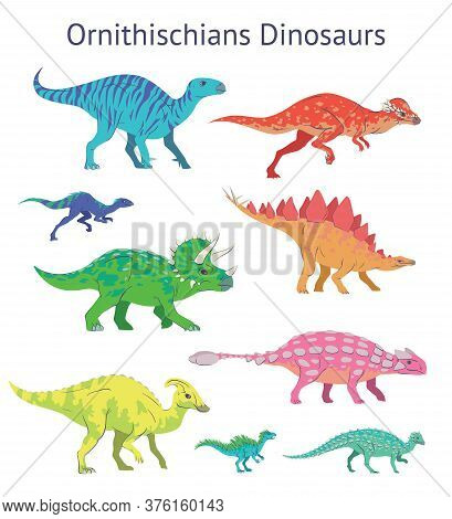 Colorful Vector Illustration Of Ornithischian Dinosaurs Isolated On White Background. Side View. Set