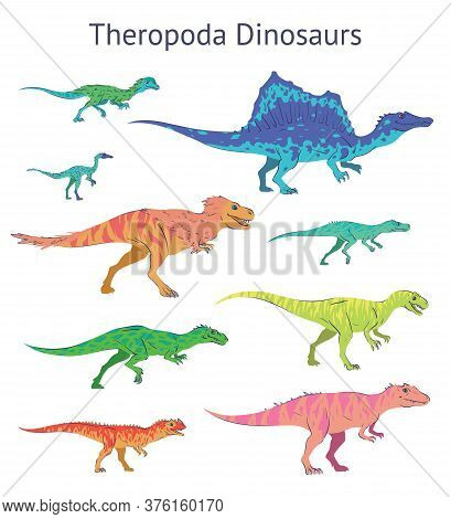 Set Of Theropoda Dinosaurs. Colorful Vector Illustration Of Dinosaurs Isolated On White Background.