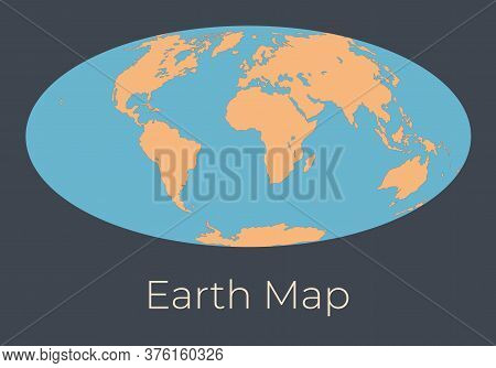 Map Of The Earth. Vector Illustration Of Earth Map With Orange Continents And Blue Oceans Isolated O