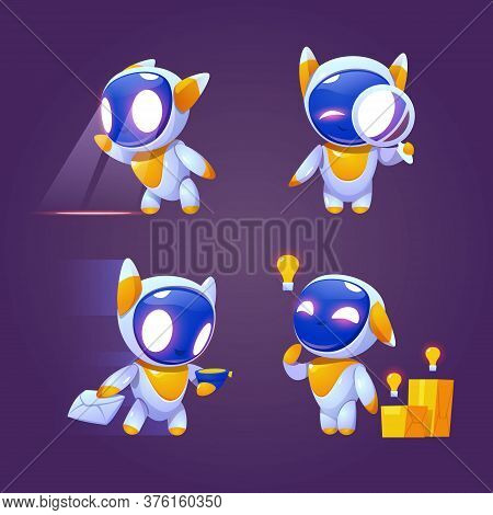 Cute Robot Character In Different Poses. Vector Set Of Cartoon Chat Bot, Funny Electronic Cyborg Loo