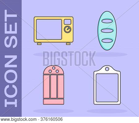 Set Cutting Board, Microwave Oven, Salt And Bread Loaf Icon. Vector