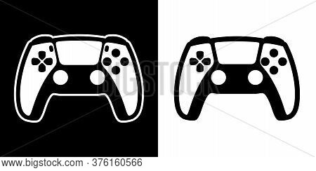 Flat Design Controller Vector Illustration. Black And White Joystick Or Gamepad Isolated Icon