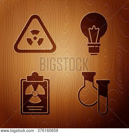 Set Test Tube And Flask, Triangle With Radiation, Radiation Warning Document And Light Bulb With Con