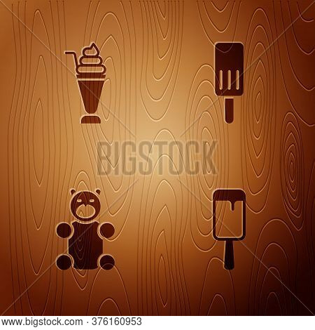Set Ice Cream, Milkshake, Jelly Bear Candy And On Wooden Background. Vector