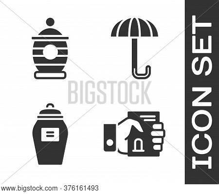 Set Death Certificate In Hand, Funeral Urn, Funeral Urn And Umbrella Icon. Vector