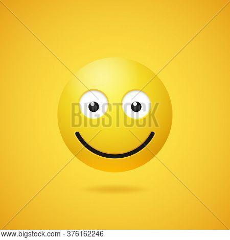 Happy Smiling Emoticon With Opened Eyes And Mouth On Yellow Gradient Background. Vector Funny Yellow