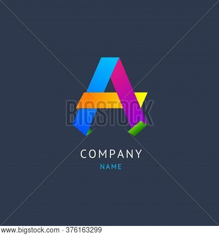 Sign A Color Alphabet Symbol Letter For Identity Company Business Typographic Style. Vector Illustra