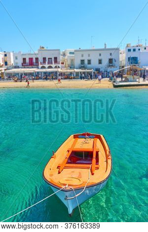 Oar boat in The Old Port of Mykonos, Greece. Greek scenery
