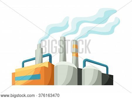 Illustration Of Factory Or Industrial Building. Urban Manufactory Landscape Of Construction.