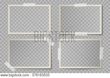 Vector Set Of Beige Rectangular Photo Card Frames With Various Lighting Effect And Shadows On Transp