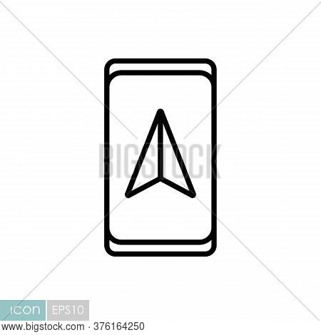 Smartphone With Navigator Vector Icon. Navigation Sign. Graph Symbol For Travel And Tourism Web Site