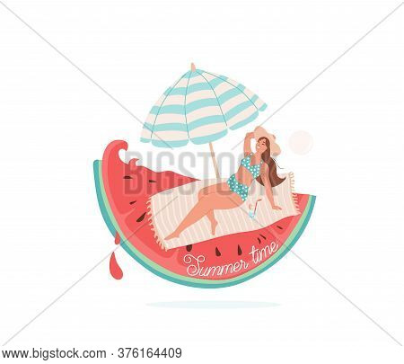 Summer Time Vector Illustration. Beautiful Smiling Girl Lie On Litter Under Striped Umbrella. Beach