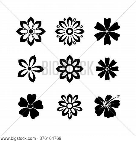 Flower Icon Set, Flower Vector Collection, Flower Icon Isolated. Flower Icon Simple Sign. Flower Vec
