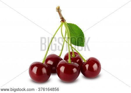 Cherries With Leaves Isolated On White Background With Clipping Path. Full Depth Of Field.