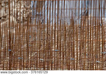 Rebars On Construction Site. Steel Rebars For Reinforced Concrete.