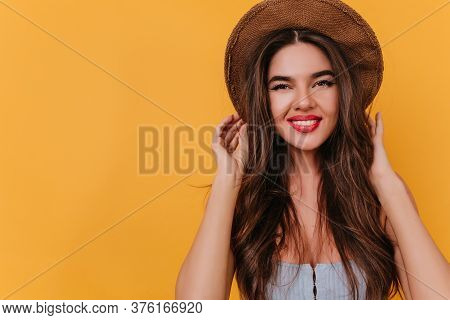 Lovable Lady With Natural Makeup Expressing Happiness And Laughing. Photo Of Fashionable Female Mode