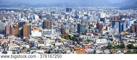 Kyoto, Japan - August 9, 2019. Aerial view of Kyoto, Japan. Kyoto city is 9th largest city in Japan and founded in year 794.