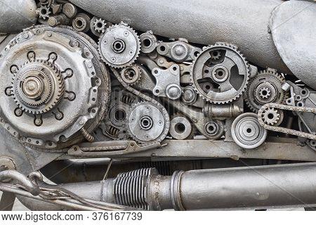 Gray Beautifal Mechanism Machine Engine Old Car