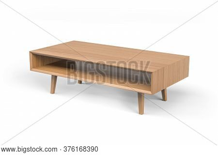 Low Wooden Coffee Table On Four Legs Isolated On White Background - 3d Render