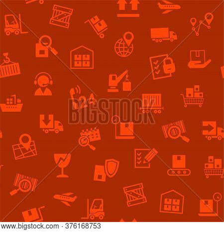 Cargo Delivery, Seamless Pattern, Red, Color, Vector. Cargo Transportation And Delivery Of Goods. Re