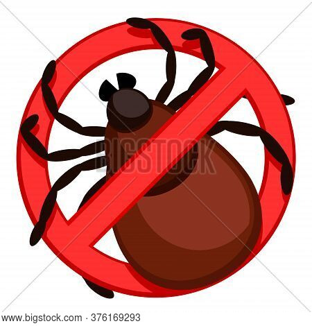 Tick In A Stop Sign On A White Background. Stop Insect Tick