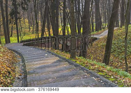 Staircase And Bridge Over A Small Ravine. Tsaritsyno Forest Park. Early Evening, October.