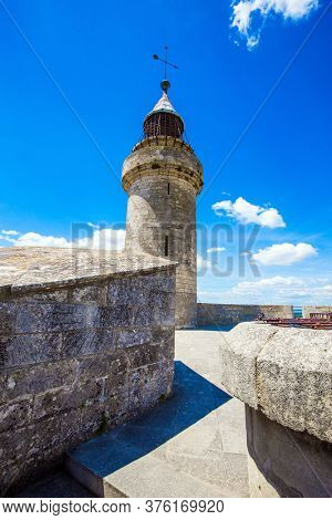 The historic tower of Constance. Antique walls of the medieval port of Aigues-Mortes. Mediterranean coast of France. The concept of active, historical and photo tourism