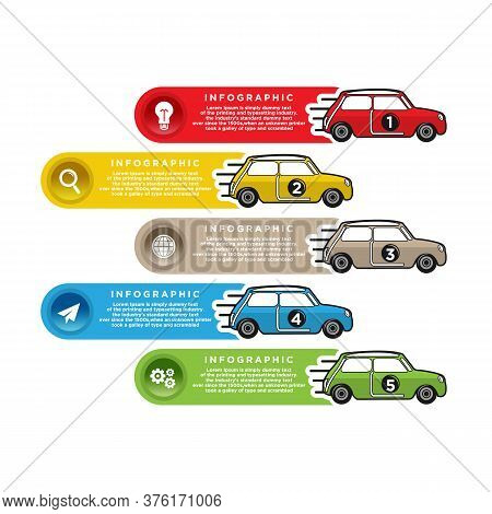 Car Racing Info Art Cover, Car Arrow Up Info, Color Car Arrow, Vector Infographic Illustration.eps 1