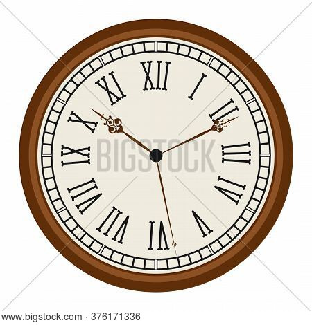 Vintage Clock With Roman Numerals Old Fashion Isolated On White Background. Vector Illustration