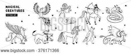 Magical Creatures Set. Mythological Animals. Doodle Style Black And White Vector Illustration Isolat