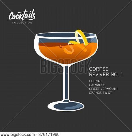 Cocktail Corpse Reviver 1 Orange Twist Vector Illustration