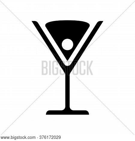 Cocktail Martini Cosmopolitan Olive Cherry Black Icon Vector