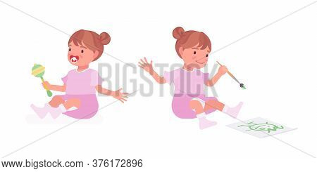 Toddler Child, Little Girl Playing With Rattle Toy, Drawing. Cute Sweet Happy Healthy Baby Aged 12 T