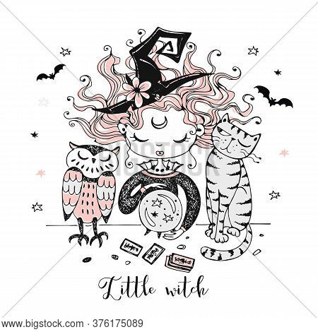 A Cute Little Witch With A Cat And An Owl Looks Into A Crystal Ball. Halloween. Vector